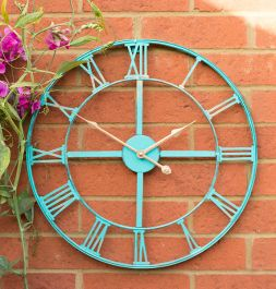 Metal Garden Clock in a Antique Patina Finish - 46cm (18