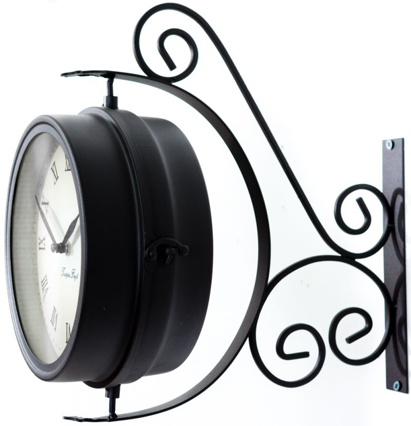 Bracket Mounted Swivel Garden Clock with Thermometer (31.5cm) - by About Time™