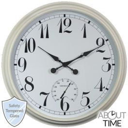 Big Time Outdoor Garden Clock with Thermometer - White - 90cm (35.4