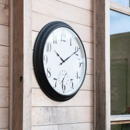 Big Time Outdoor Garden Clock with Thermometer - Black - 90cm (35.4