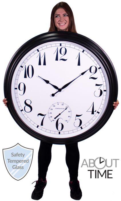 "Big Time Outdoor Garden Clock with Thermometer - Black - 90cm (35.4"") - by About Time™"