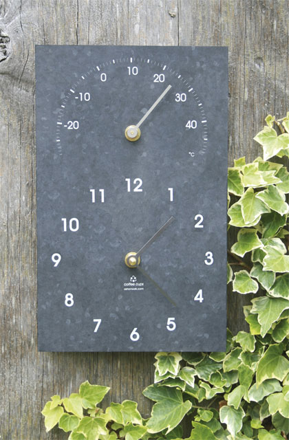 "Eco - Recycled Outdoor Clock and Thermometer - 26cm (10.2"")"