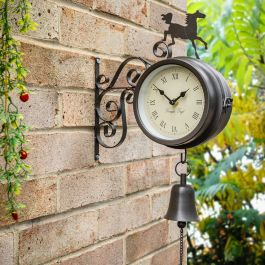 Horse and Bell Garden Clock with Thermometer - 47cm (18.7