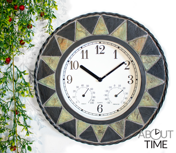 "Slate Effect Patterned Outdoor Garden Clock with Thermometer - 30cm (11¾"") - by About Time™"