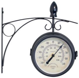 601c860df47f Greenwich Swivel Metal Garden Station Clock with Thermometer in Black -  15cm (6in) - by About Time™  GG0282