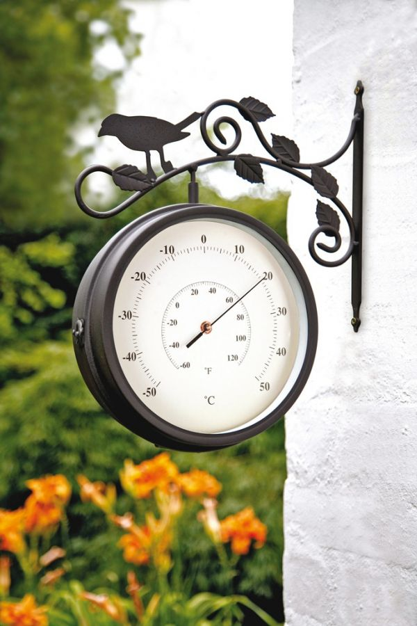 Outdoor Swivel Clock And Thermometer Birds Of Britain
