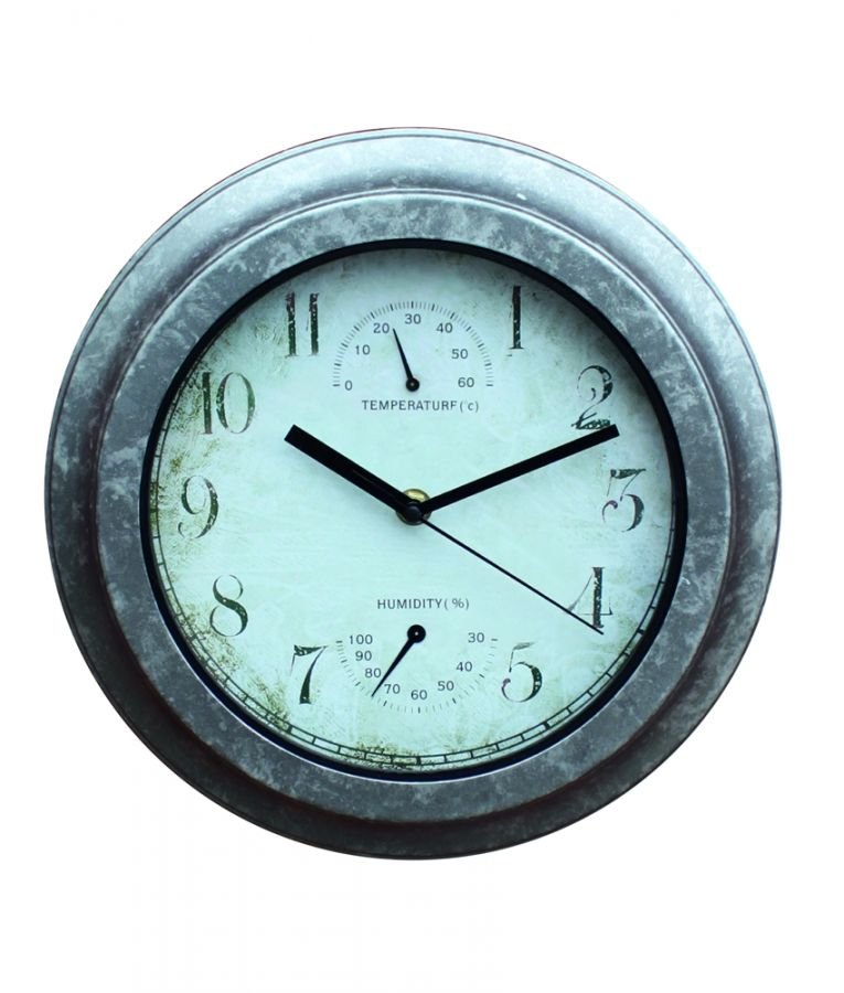 Galvanised Look Wall Clock - 25cm (9¾in)