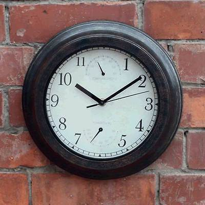 Antique Look Outdoor Wall Clock with Hygrometer and Thermometer D25cm
