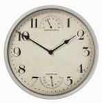 "Sherborne Weather Station Metal Outdoor Garden Clock in Cream - 25cm (9.8"")"