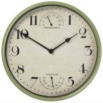 "Sherborne Weather Station Metal Outdoor Garden Clock in Sage Green - 25cm (9.8"")"