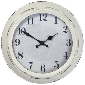 "Highcliffe Decorative Outdoor Garden Clock in White - 30cm (11.8"")"