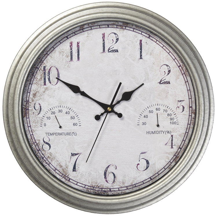"Wedmore Weather Station Outdoor Garden Clock with Galvanised Finish - 42cm (16.5"")"
