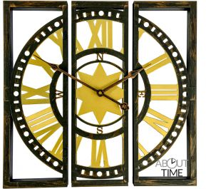 40cm Three Piece Metal World Site Garden Clock - by About Time™