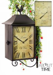 42cm Double Sided Rectangular Railway Station Cockerel Garden Clock with Thermometer - by About Time™
