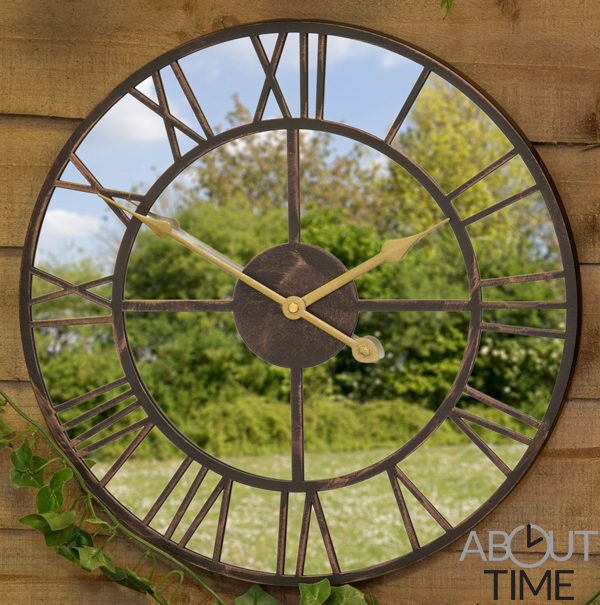 40cm Metal Roman Numeral Mirror Garden Clock - by About Time™
