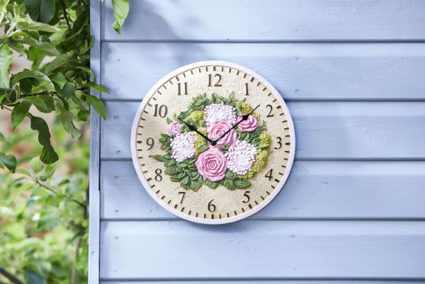 12in Floral Wall Clock by Smart Garden