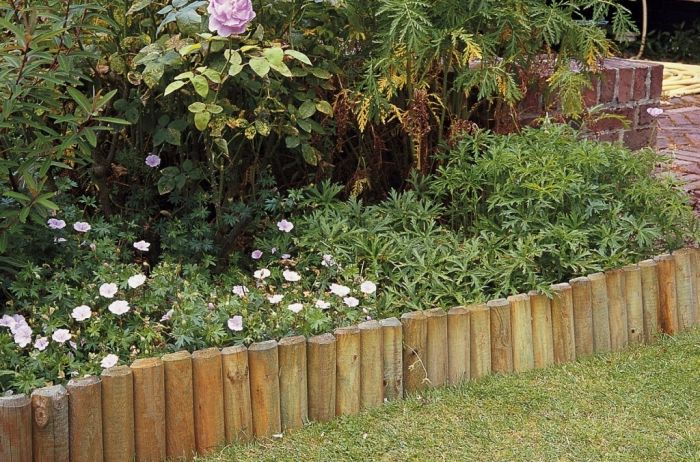 1.5m Natural Wooden Log Roll Edging - H15cm