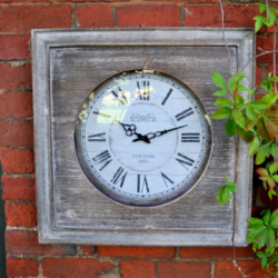 "Small Square Wooden Vintage Garden Clock - 60cm (24"")"