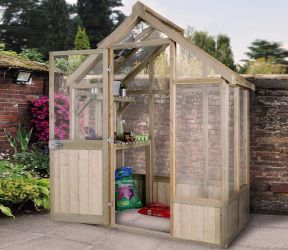 6x4 Vale Toughened Glass Wooden Greenhouse by Forest Garden®
