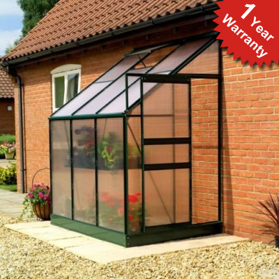 Gardman 6Ft X 4Ft Traditional Aluminium Frame Lean-To Greenhouse