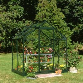 Halls Popular Aluminium Frame Greenhouse 6ft x 4ft Green