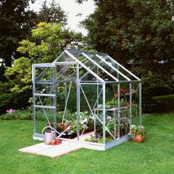 Halls Popular Aluminium Frame Greenhouse 6ft x 6ft Silver