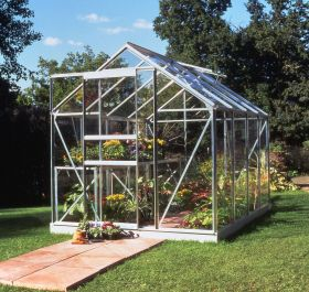 Halls Popular Aluminium Frame Greenhouse 6ft x 8ft Silver with Horticultural Glass