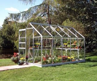 Halls Popular Aluminium Frame Greenhouse 6ft x 10ft Silver Horticultural Glass