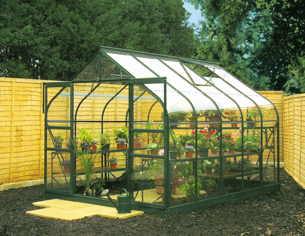 Halls Supreme Aluminium Frame Greenhouse 8ft x 10ft with Toughened Glass - Green