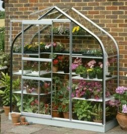 Halls Supreme Wall Garden Lean-To Silver 6ft x 2ft Aluminium Frame Greenhouse