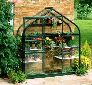 Halls Supreme Wall Garden Lean-To Green 6ft x 2ft Aluminium Frame Greenhouse - Toughened Glass
