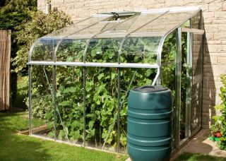 Halls Silverline Lean-To 8ft x 6ft Aluminium Frame Greenhouse with Toughened Glass - Silver