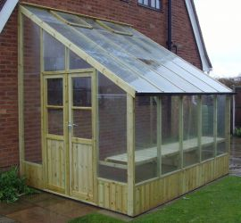 Swallow Heron 8ft 8in x 12ft 7in Lean-To Wooden Greenhouse