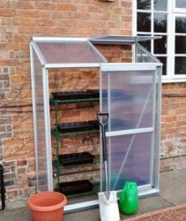 Kingfisher Premium Lean-To Aluminium Frame Greenhouse 4ft 2¾in x 1ft 9¼in