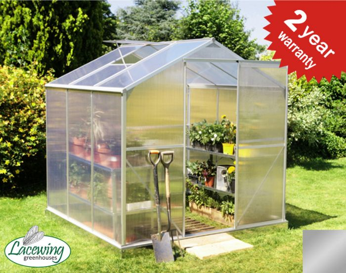 Lacewing™ 6ft x 6ft Essential Silver Aluminium Frame Greenhouse with Base