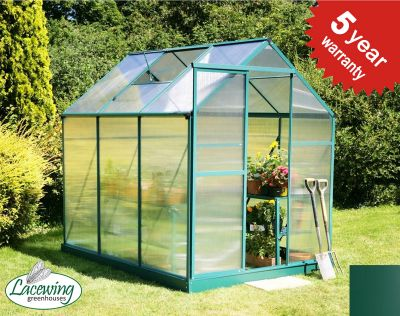 Lacewing™ 6ft x 8ft Traditional Green Aluminium Frame Greenhouse