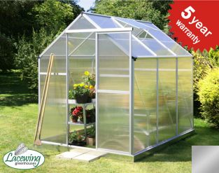 Lacewing™ 6ft x 8ft Traditional Silver Aluminium Frame Greenhouse