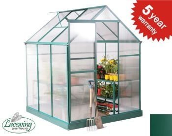 Lacewing™ 6ft x 6ft Traditional Green Aluminium Frame Greenhouse