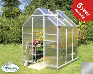 Lacewing™ 6ft x 6ft Traditional Silver Aluminium Frame Greenhouse