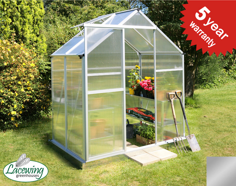 Lacewing™ 6ft x 4ft Traditional Silver Aluminium Frame Greenhouse