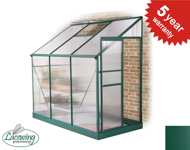 Lacewing™ 4ft x 8ft Traditional Green Lean-To Aluminium Frame Greenhouse