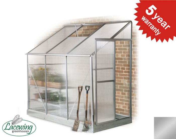 Lacewing™ 4ft x 8ft Traditional Silver Lean-To Aluminium Frame Greenhouse