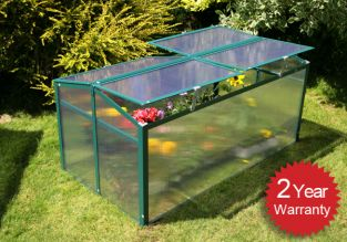 Lacewing 4ft x 2ft Cold Frame Double Door Mini Aluminium Frame Greenhouse