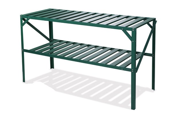 "Set of Two 4' 1"" Lacewing™ Traditional 2 Tier Greenhouse Staging - Green"