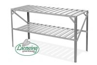 "4' 1"" Lacewing™ Traditional 2 Tier Greenhouse Staging - Silver"