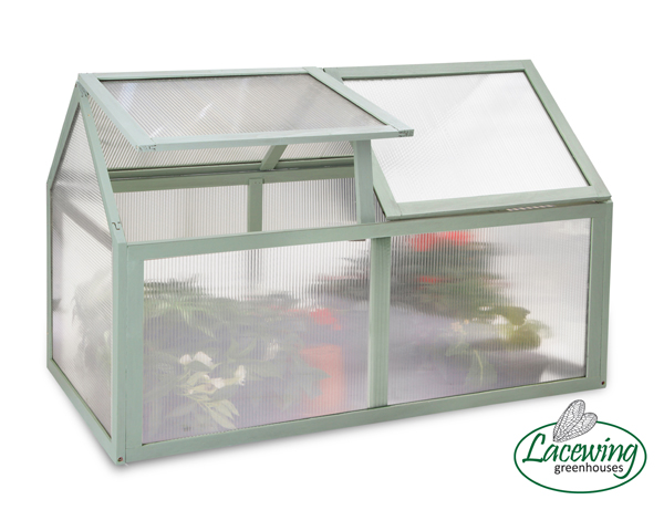 Lacewing™ 3ft3 x 1ft8 Double Lid Wooden Cold Frame in Olive Leaf Green