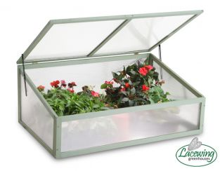 Lacewing™ 3ft3 x 2ft Large Wooden Cold Frame in Olive Leaf Green