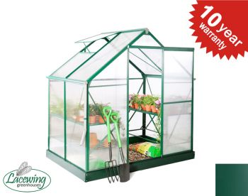 Lacewing™ 6ft x 4ft Deluxe Green Aluminium Frame Greenhouse