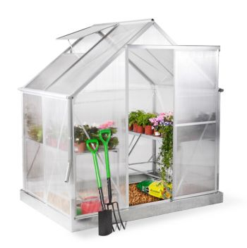 Lacewing™ 6ft x 4ft Deluxe Silver Aluminium Frame Greenhouse