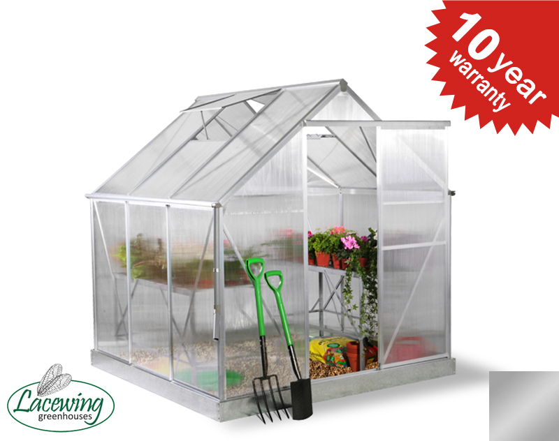 Lacewing™ 6ft x 6ft Deluxe Silver Aluminium Frame Greenhouse
